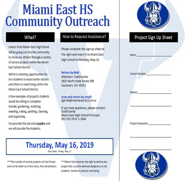 Miami East HS Community Outreach Program