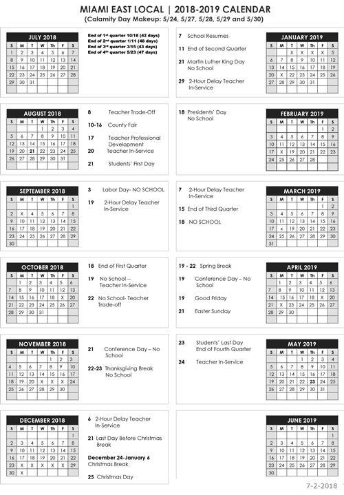 District Parent Information District Calendar