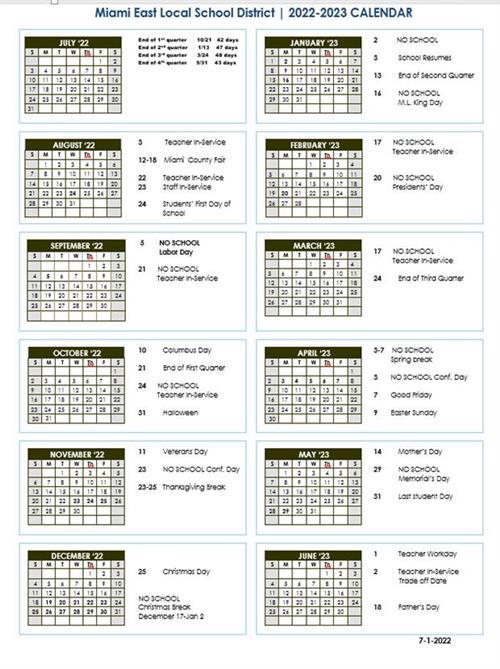 District Parent Information / District Calendar