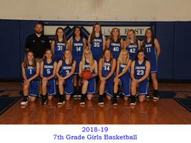 Congratulations to the 7th Grade Girls basketball Team!